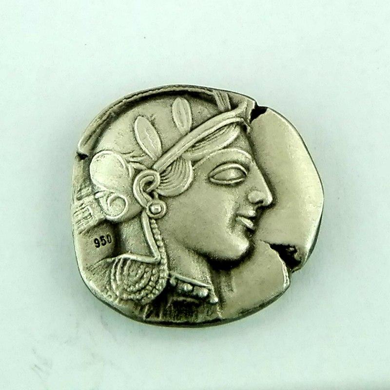 Ancient Greek Silver Coin, Goddess Athena & Wise Owl Athens Tetradrachm