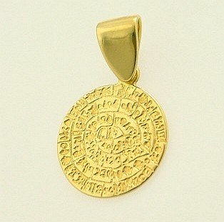 Ancient Greek Pendant 14K Gold - Phaistos Disc ANPE 14, Greek Gold Jewelry ,Greek jewelry shop, Phaistos Disc ANPE 14