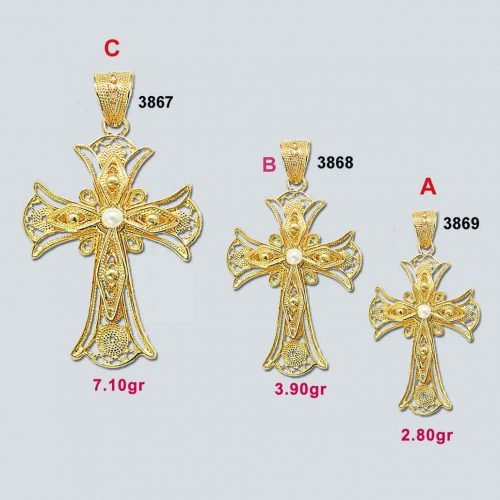 Greek Byzantine Filigree Cross 18K Gold BYCR-KA-3867-3868-3869