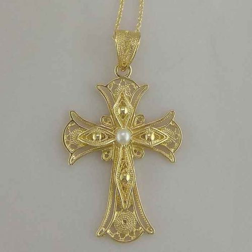 Byzantine Orthodox Filigree cross in 18K Gold, Greek Jewelry, Greek gold jewelry, Byzantine filigree Gold Crosses, Greek jewelry shop, Byzantine jewelry BYCR-KA-3869