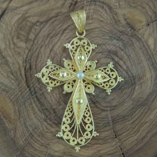 Byzantine Orthodox giligree cross in 18K Gold, Greek Gold Jewelry, Greek jewelry shop, Byzantine jewelry
