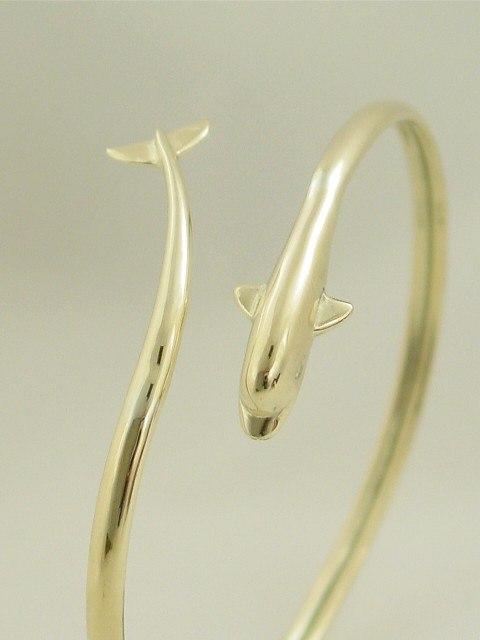 14k Gold Dolphin Bracelet Bangle
