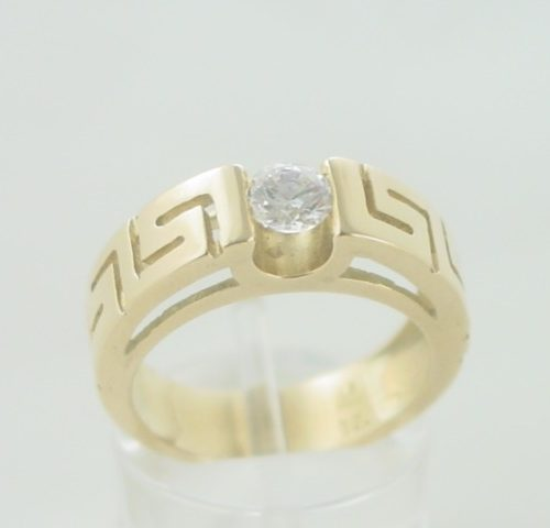 Greek key gold ring