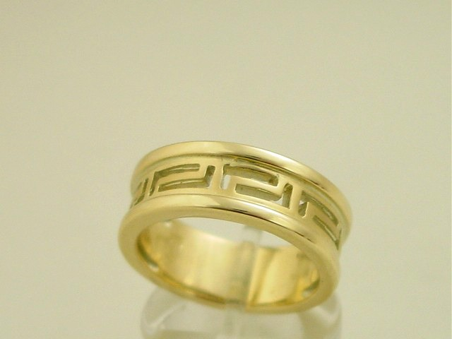 Greek Key Ring, Greek Key Jewelry, Greek Key Gold Rings, Greek Gold, Greek Key Design, Meander rings, Greek key 14K Gold rings, Yellow Gold Greek Key Ring, 14K Gold Greek Key Ring, Greek Key Ring in 14K Gold, Greek Gold Jewelry, Greek jewelry shop. Greek Products. Greek Key Wedding Rings, Gold Wedding Rings, GKBR 1045