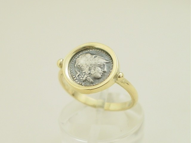 Ancient Greek Ring - Goddess Athena Helmeted, coin- Greek Jewelry-14 K gold-silver coin-sterling, athens-ancient coin-greek