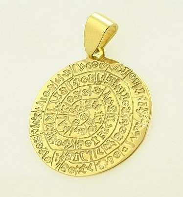 Ancient Greek Pendant 14K Gold - Gold Phaistos Disc ANPE 13, Greek Gold Jewelry ,Greek jewelry shop, Ancient Greek Jewelry, Ancient Jewelry from Greece