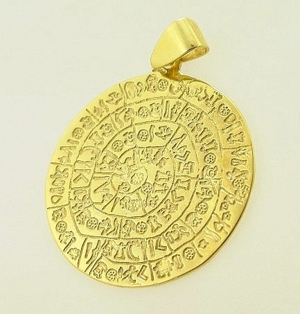 Ancient Greek gold coin pendants, phaistos disc coin pendant, Ancient Greek gold pendant, Ancient Greek jewelry, Museum ancient jewelry reproductions