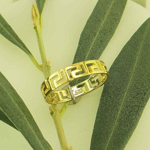 Greek key gold rings-Greek Jewelry-Meander ring-Greek gold rings-Greek jewellery