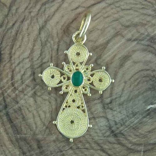 Greek Byzantine Filigree Cross 18K Gold