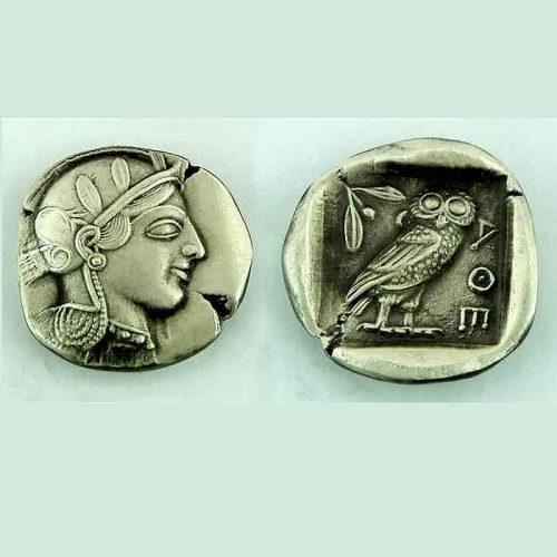Ancient Greek silver coin pendant- Ancient Greek Jewelry-Athens tetradrachm-Goddess Athena & wise owl