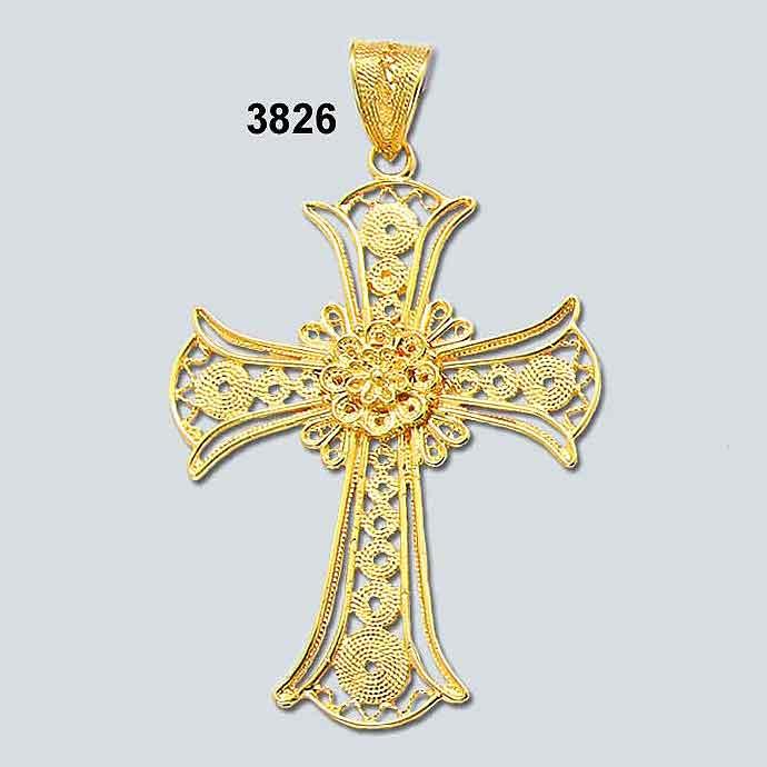 Byzantine Orthodox Filigree cross in 18K Gold, Greek Gold Jewelry