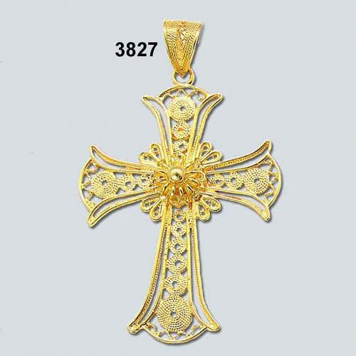 Byzantine Orthodox Filigree cross in 18K Gold, Greek Jewelry, Greek gold jewelry, Byzantine filigree Gold Crosses, Greek jewelry shop, Byzantine jewelry BYCR KA 3827