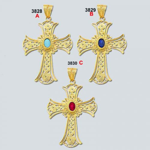 Greek Byzantine Filigree Baptism Orthodox Cross 18K Gold