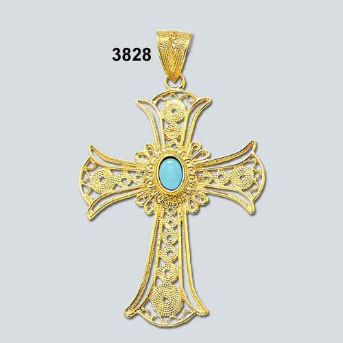Byzantine Orthodox Filigree cross in 18K Gold, Greek Jewelry, Greek gold jewelry, Byzantine filigree Gold Crosses, Greek jewelry shop, Byzantine jewelry BYCR KA 3828