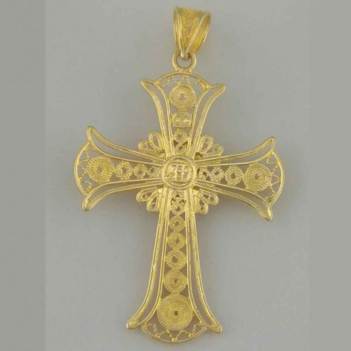 Greek Byzantine Filigree Cross 18K Gold BYCR-KA 382