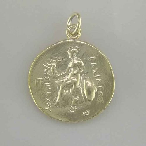 Ancient Greek Gold-Plated Sterling Silver, Alexander the Great Coin Pendant GGCOGP 001