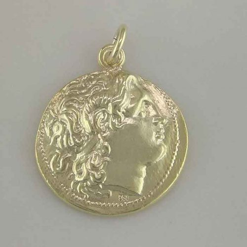 Ancient Greek Gold-Plated Sterling Silver, Alexander the Great Coin Pendant ANSGPE 001