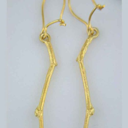 Greek gold Jewelry, gold plated silver, sterling silver 925, gold plated silver earrings, Natural branch earrings, Alexandra's collection, AC-GSEA-001-2