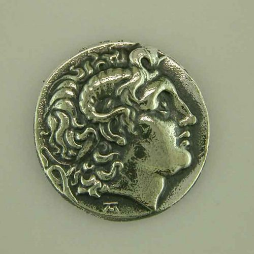 Alexander the Great, Ancient Greek silver coin, Ancient Greek silver jewelry, ANSCO-004-