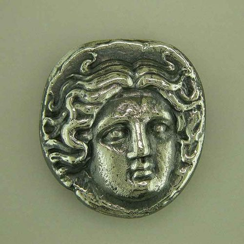 Greekgold.com, Apollo-Helios God silver coin, Greek jewelry shop, Ancient Greek silver coin. Greek Gold Jewelry, Ancient, Apollo-Helios God coin,ANSCO-006-