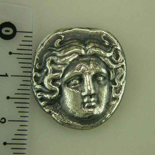 Greekgold.com, Apollo-Helios God silver coin, Greek jewelry shop, Ancient Greek silver coin. Greek Gold Jewelry, Ancient, Apollo-Helios God coin,ANSCO-006-