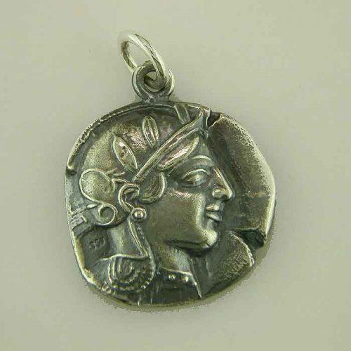 Ancient Greek Silver Coin pendant, Goddess-Athena- Ancient-coin-pendant-silver-gold plated-Greek-jewelry-owl pendant-helmeted-Nike