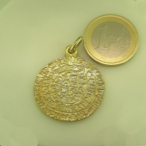 Phaistos Disc - Greek jewelry -Ancient Greek Gold Plated Silver Coin Pendant