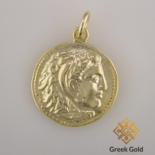 Alexander-Great-Ancient-coin-pendant-silver-gold plated-Ancient-Greek jewelry