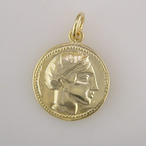 Goddess-Athena- Ancient-coin-pendant-silver-gold plated-Greek-jewelry-owl pendant