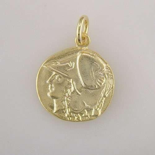 Goddess-Athena- Ancient-coin-pendant-silver-gold plated-Greek-jewelry-owl pendant-helmeted-Nike