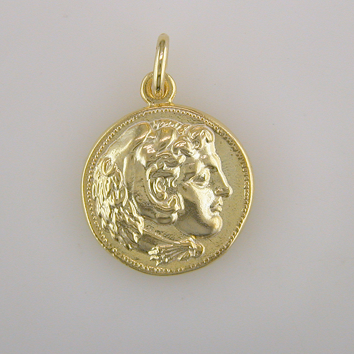 Ancient Greek Gold Plated Silver Coin Pendant-Alexander the Great
