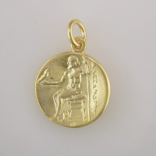 Alexander-Great-Ancient-silver-coin-pendant- gold plated-Ancient-Greek jewelry
