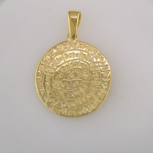 Phaistos Disc - Ancient Greek Gold Plated Silver Coin Pendant