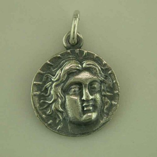 Ancient Greek silver coin, Apollo-Helios Sun God & light -Rhodes island Ancient silver coin, Greek Gold Jewelry, Greekgold.com, Greek jewelry shop