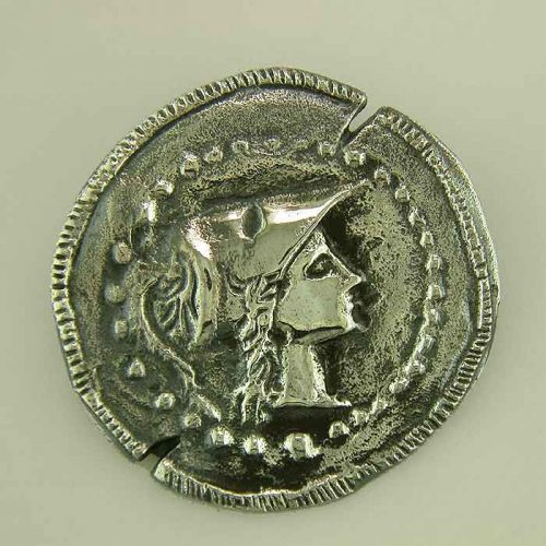 ancient greek silver coin pendant-brooch-head of Goddess AthenaANSPE-br 112