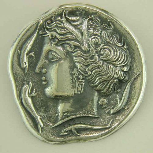Ancient Greek silver coin pendant - brooch. Head of Artemis-Arethusa, or Persephone, Greek Gold Jewelry, Greek Ancient silver coins pendants