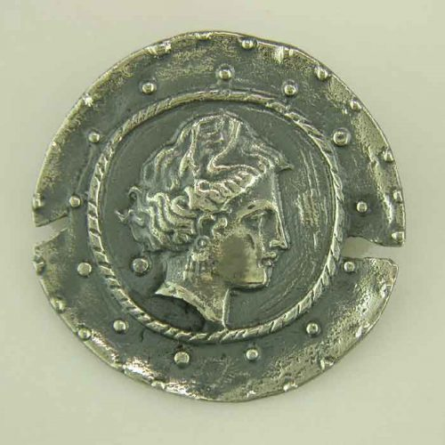 Ancient Greek silver coin pendant - brooch. Head of Artemis (Venus), Greek Gold Jewelry, Greek Ancient silver coins pendants