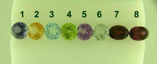 Semi precious stones Amethyst, Citrine, Iolite, Peridot, Rhodolite, Blue Topaz, Garnet, Zircon