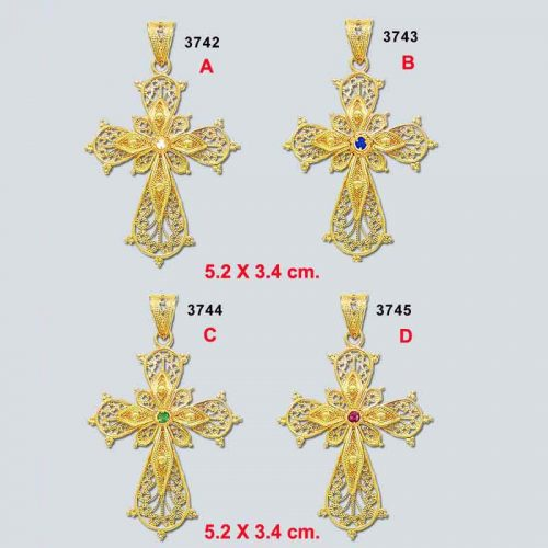 Byzantine gold cross, Greek jewelry, Jewelry from Greece, Greek jewelry shop, 18K gold, filigree crosses, Greek Orthodox baptismal cross,
