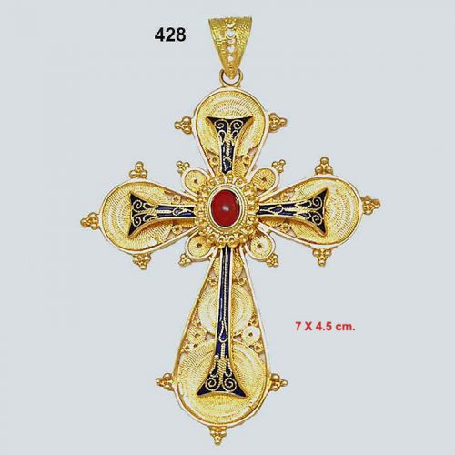 Byzantine 18K gold crosses, filigree crosses, Orthodox baptismal cross, handmade cross, 18K gold crosses, Greek crosses, Byzantine crosses, Greek gold crosses, gold crosses