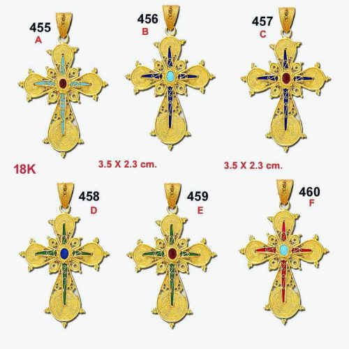 Byzantine 18K gold crosses, Orthodox baptismal gold crosses, Greek gold baptism crosses, filigree cross, 18K gold crosses