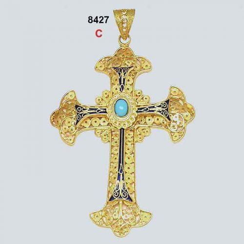 Byzantine 18K gold crosses, filigree crosses, Orthodox baptismal cross, handmade cross, 18K gold crosses, Greek crosses, Byzantine crosses, Greek gold crosses, gold crosses