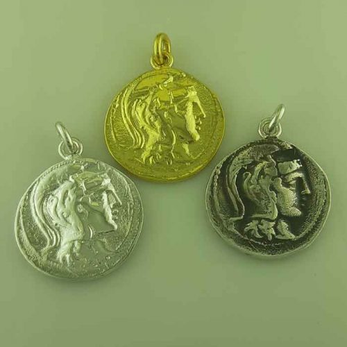 Ancient Greek silver coin pendants, Goddess Athena & Wise Owl coin pendant, Ancient Greek silver coin, Ancient Greek jewelry, Museum ancient jewelry reproductions