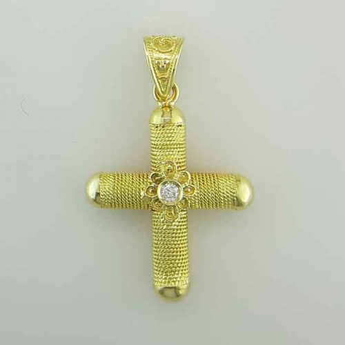 Byzantine Orthodox baptism diamond cross in 18K Gold, Greek Gold Jewelry, baptismal orthodox crosses, Byzantine jewelry
