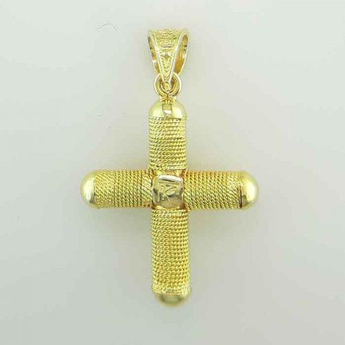 Byzantine Orthodox baptism diamond cross in 18K Gold, Greek Gold Jewelry, baptismal orthodox crosses, Byzantine jewelry
