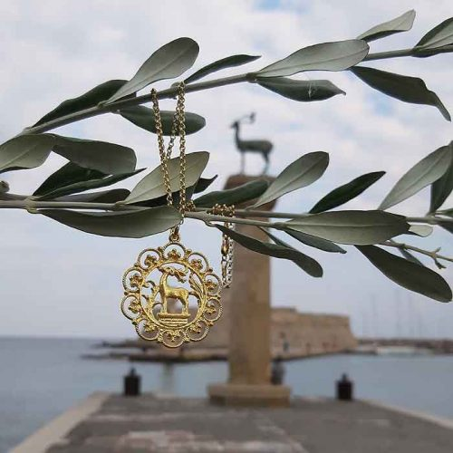 Deer of Rhodes pendant, Greek traditional filigree Rhodes jewelry gold plated & silver pendants, traditional Greek silver pendants, traditional Greek jewelry