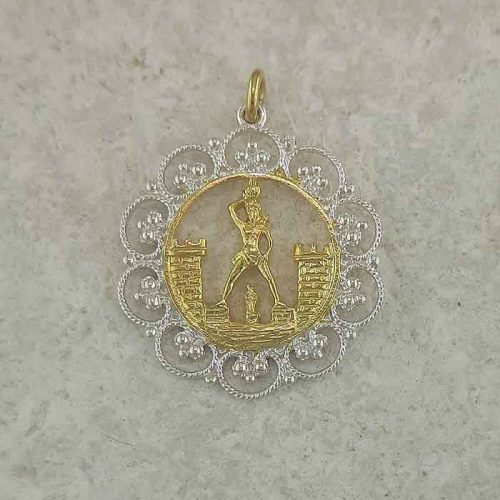 Colossus of Rhodes pendant, Greek traditional filigree Rhodes jewelry gold plated & silver pendants, traditional Greek silver pendants, traditional Greek jewelry