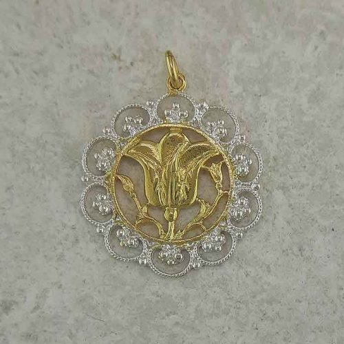 Rose of Rhodes pendant, Greek traditional filigree Rhodes jewelry gold plated & silver pendants, traditional Greek silver pendants, traditional Greek jewelry
