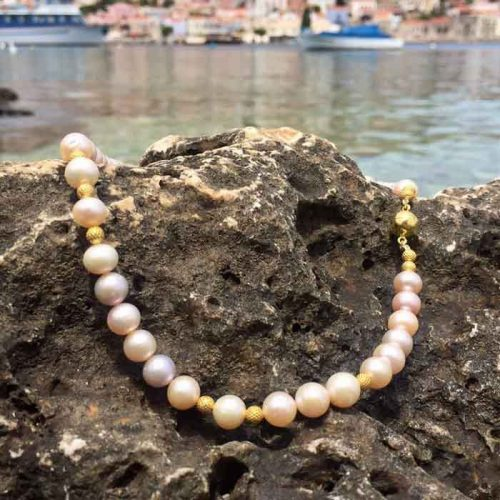 Fresh water pearls necklace, pearls, gold plated silver, handmade jewelry, katerina's jewelry