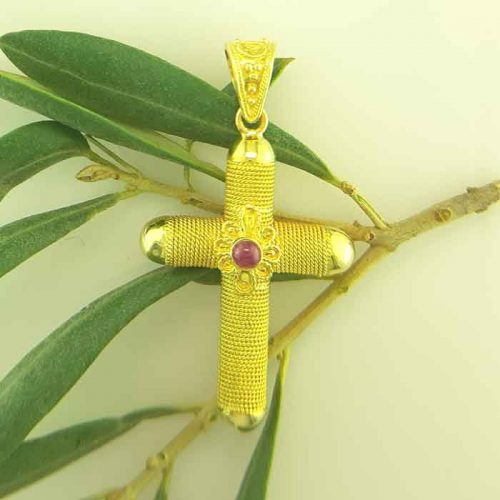 Byzantine Orthodox baptism ruby cross in 18K Gold, Greek Gold Jewelry, baptismal orthodox crosses, Byzantine jewelry